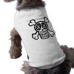 camisa del cráneo y del mascota de la bandera pira ropa de perro