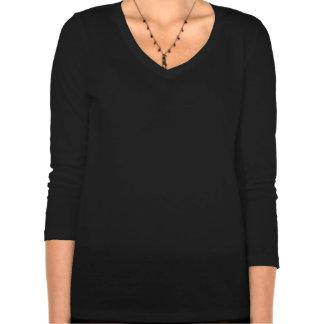 Camisa del cuello en v de la manga de las mujeres