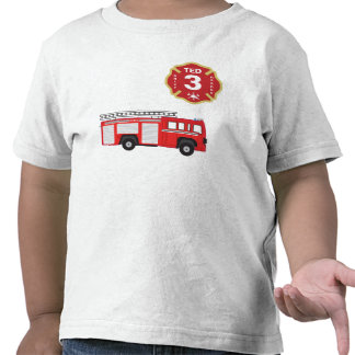 Camisa del cumpleaños - coche de bomberos
