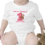 Camisa del cumpleaños del chica del mono de Lil pr