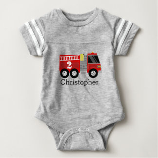Camisa del cumpleaños del coche de bomberos