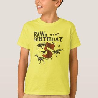 Camisa del cumpleaños del dinosaurio de Rawr