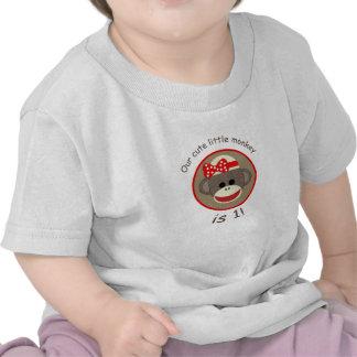 Camisa del cumpleaños del mono del calcetín del ch