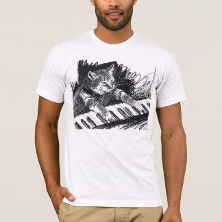 ¡Camisa del dibujo de lápiz del gato del teclado! Playera
