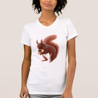 Camisa del escote redondo de la ardilla roja