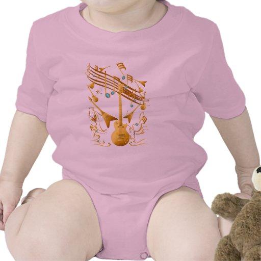 Camisa del fiesta de la guitarra del oro