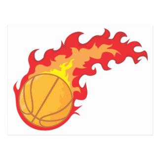 Camisa del fuego rojo del baloncesto tarjeta postal