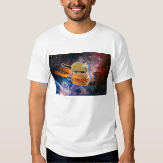 Camisa del gato del espacio de la hamburguesa del
