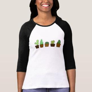 Camisa del jardín 3/4 de los cactus de las mujeres
