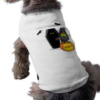 Camisa del mascota de Halloween del gato negro y d Playera Sin Mangas Para Perro