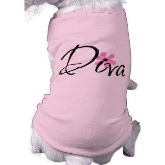 Camisa del mascota de la diva playera sin mangas para perro