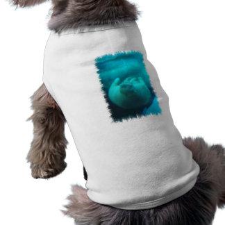 Camisa del mascota de la natación de la morsa playera sin mangas para perro