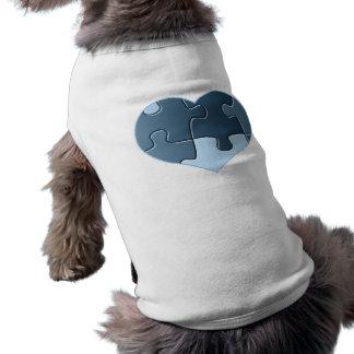 Camisa del mascota del corazón del rompecabezas playera sin mangas para perro