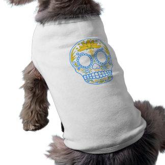 Camisa del mascota del cráneo del azúcar playera sin mangas para perro