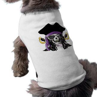 """""""Camisa del mascota del cráneo del pirata"""" Playera Sin Mangas Para Perro"""