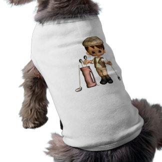 Camisa del mascota del dibujo animado del golfista prenda mascota