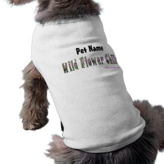 Camisa del mascota del niño de flor salvaje playera sin mangas para perro