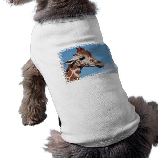 Camisa del mascota del perfil de la jirafa playera sin mangas para perro