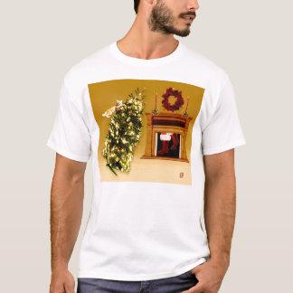 camisa del navidad del gatito del árbol que cae