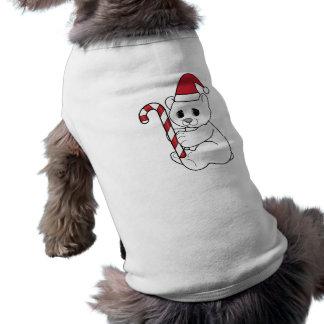 Camisa del navidad del perro: Oso polar en el gorr Playera Sin Mangas Para Perro