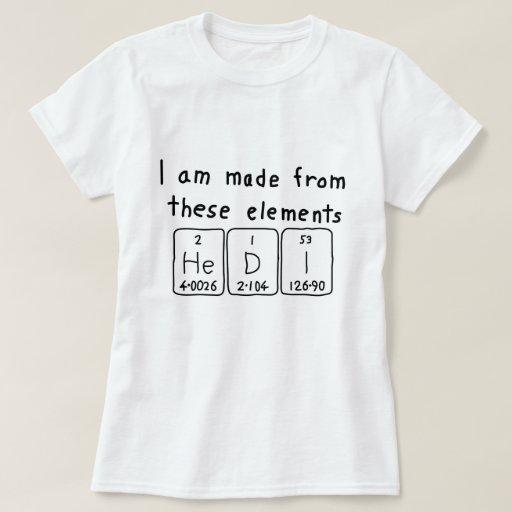 Camisa del nombre de la tabla periódica de Hedi