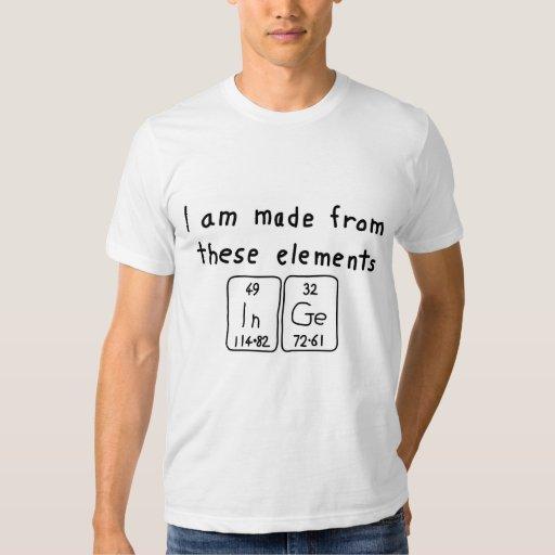 Camisa del nombre de la tabla periódica de Inge