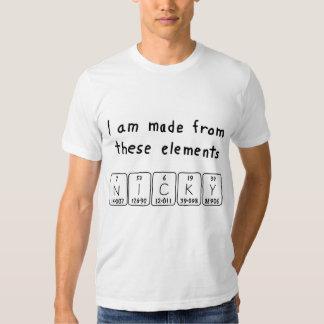 Camisa del nombre de la tabla periódica de Nicky