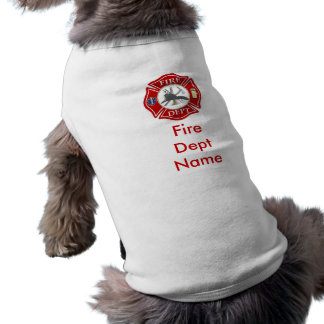 Camisa del perrito de la cruz maltesa del bombero camisetas mascota