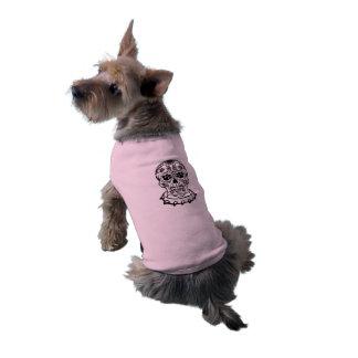 Camisa del perrito del cráneo del azúcar playera sin mangas para perro