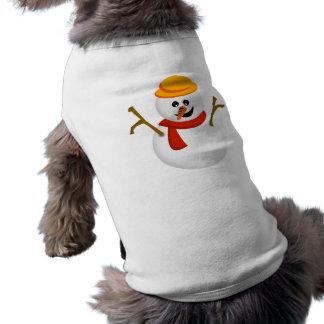 Camisa del perrito del muñeco de nieve camiseta de mascota