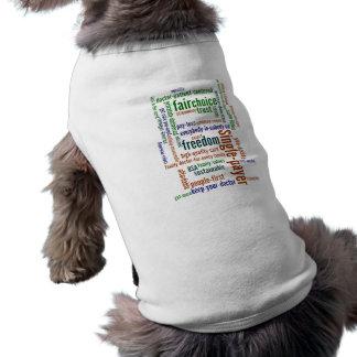 Camisa del perro de la nube de la palabra playera sin mangas para perro