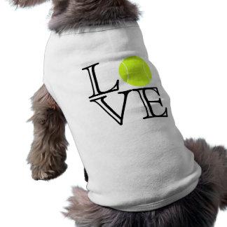 Camisa del perro del amor del tenis playera sin mangas para perro