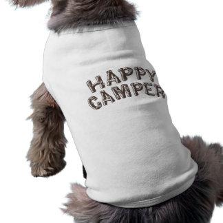 Camisa del perro del campista contento playera sin mangas para perro