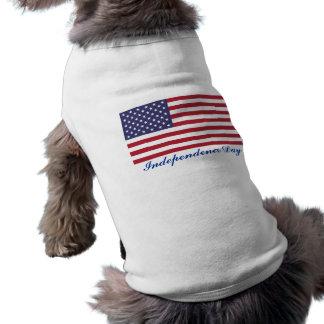 Camisa del perro del Día de la Independencia Playera Sin Mangas Para Perro