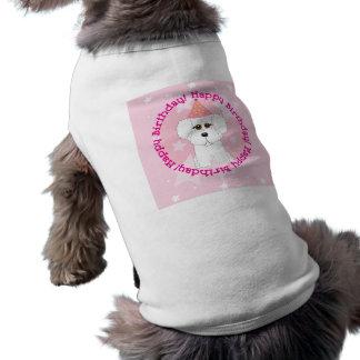 Camisa del perro del feliz cumpleaños de Bichon Fr Playera Sin Mangas Para Perro