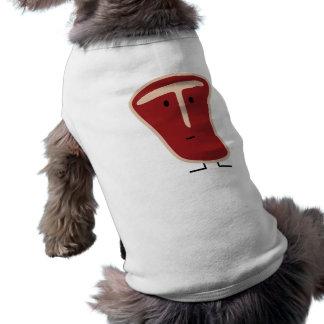 Camisa del perro del filete del T-Hueso Playera Sin Mangas Para Perro