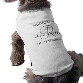 Camisa del perro del monograma de la dama de honor playera sin mangas para perro