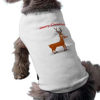Camisa del perro del reno del dibujo animado playera sin mangas para perro