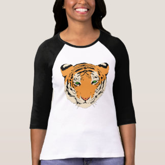 Camisa del raglán de la cara del tigre del