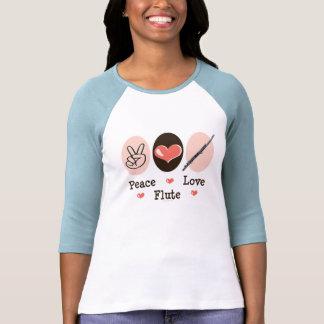 Camisa del raglán de la flauta del amor de la paz