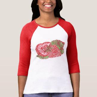 Camisa del raglán de las mujeres de las fresas