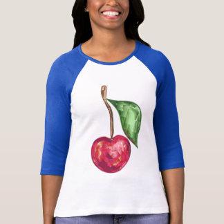 Camisa del raglán de las señoras con la cereza