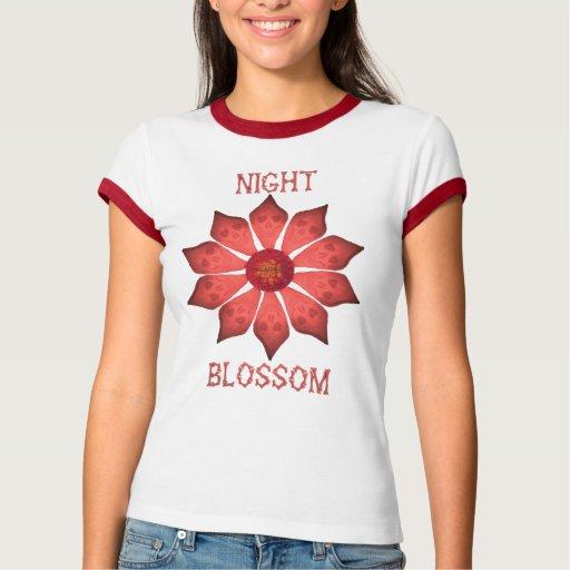 camisa del rojo del flor de la noche