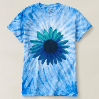 Camisa del teñido anudado de la margarita azul