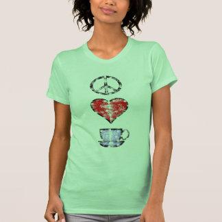 Camisa descolorada del café del amor de la paz