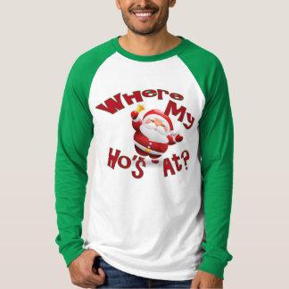 Camisa divertida del navidad donde mi Ho en la