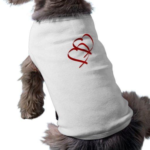 Camisa doble del perro del corazón ropa perro