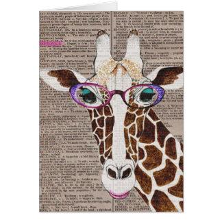 Camisa enrrollada alterada de la jirafa del arte tarjeta