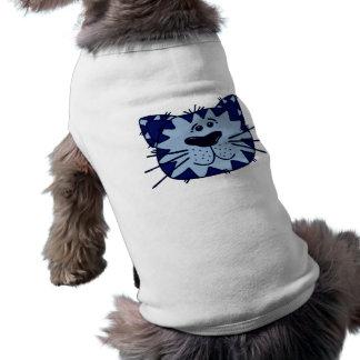 Camisa feliz del mascota del gato del dibujo anima playera sin mangas para perro