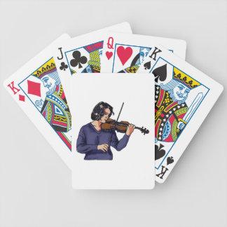 Camisa femenina del azul del jugador del violín cartas de juego